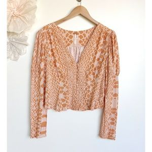 Free People Boho Long Sleeve Orange Top
